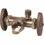 BRASSCRAFT 1/2 IN. FIP INLET X 3/8 IN. O.D. COMP X 3/8 IN. O.D. COMP DUAL OUTLET DUAL SHUT-OFF MULTI-TURN ANGLE VALVE