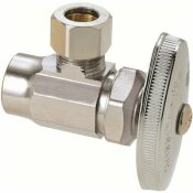 BRASSCRAFT 1/2 IN. NOMINAL SWEAT INLET X 3/8 IN. O.D. COMPRESSION OUTLET BRASS MULTI-TURN ANGLE VALVE IN CHROME