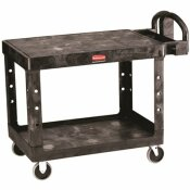 RUBBERMAID COMMERCIAL PRODUCTS HEAVY DUTY 2-SHELF RESIN UTILITY CART IN BLACK WITH FLAT SHELF IN MEDIUM