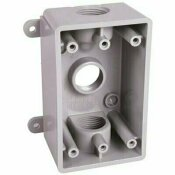 BELL 1-GANG NON-METALLIC WEATHERPROOF GRAY BOX WITH THREE 1/2 IN. OR 3/4 IN. OUTLETS