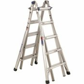 WERNER 22 FT. REACH ALUMINUM TELESCOPING MULTI-POSITION LADDER WITH 300 LBS. LOAD CAPACITY TYPE IA DUTY RATING