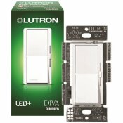 LUTRON SINGLE-POLE OR 3-WAY DIVA LED+ DIMMER SWITCH FOR DIMMABLE LED, HALOGEN AND INCANDESCENT BULBS, WHITE