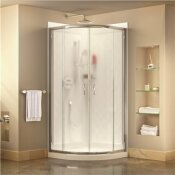 DREAMLINE PRIME 36 IN. X 36 IN. X 76.75 IN. H CORNER FRAMED SLIDING SHOWER ENCLOSURE IN CHROME WITH BASE AND BACK WALLS