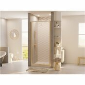COASTAL SHOWER DOORS LEGEND 23.625 IN. TO 24.625 IN. X 68 IN. FRAMED HINGED SHOWER DOOR IN BRUSHED NICKEL WITH OBSCURE GLASS