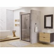 COASTAL SHOWER DOORS PARAGON 30 IN. TO 30.75 IN. X 66 IN. FRAMED PIVOT SHOWER DOOR IN MATTE BLACK WITH CLEAR GLASS