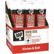 DAP KWIK SEAL PLUS 5.5 OZ. CLEAR PREMIUM KITCHEN AND BATH SILICONIZED CAULK (12-PACK) - DAP PART #: 7079818546