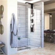 DREAMLINE LINEA 34 IN. X 72 IN. SEMI-FRAMELESS FIXED SHOWER SCREEN IN CHROME WITHOUT HANDLE