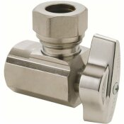 BRASSCRAFT 1/2 IN. FIP INLET X 7/16 IN. & 1 /2 IN. OD SLIP-JOINT OUTLET 1/4-TURN ANGLE BALL STOP - BRASSCRAFT PART #: KT3301X C
