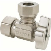 BRASSCRAFT 1/2 IN. NOM COMP INLET X 7/16 IN. & 1 /2 IN. OD SLIP-JOINT OUTLET  1/4-TURN ANGLE BALL STOP