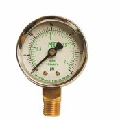 MEC DIAL DRY PRESSURE GAUGE 0-30 PSI, BRASS BOTTOM MOUNT 1/4 IN. MNPT, 2 IN. STEEL CASE