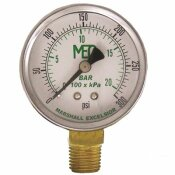 MEC DIAL DRY PRESSURE GAUGE 0-300 PSI, BRASS BOTTOM MOUNT 1/4 IN. MNPT, 2 IN. STEEL CASE
