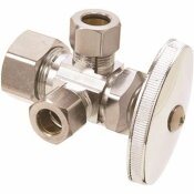 BRASSCRAFT 1/2 IN. NOM COMP INLET X 3/8 IN. O.D. COMP X 3/8 IN. O.D. COMP DUAL OUTLET MULTI-TURN VALVE IN CHROME