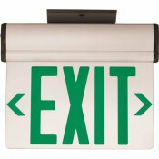 3.72-WATT EQUIVALENT INTEGRATED LED BRUSHED ALUMINUM, GREEN LETTERS SINGLE-FACE SURFACE EDGELIT EXIT SIGN WITH BATTERY