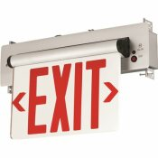 COMPASS 3.72-WATT EQUIVALENT INTEGRATED LED BRUSHED ALUMINUM, RED LETTERS DOUBLE-FACE SURFACE EDGELIT EXIT SIGN WITH BATTERY