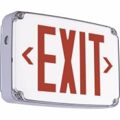HUBBELL LIGHTING COMPASS 2.7-WATT WHITE-RED INTEGRATED LED DOUBLE-FACE EXIT SIGN WITH BATTERY WET LOCATION