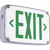 HUBBELL LIGHTING COMPASS 2.7-WATT WHITE-GREEN INTEGRATED LED SINGLE-FACE EXIT SIGN WITH BATTERY WET LOCATION