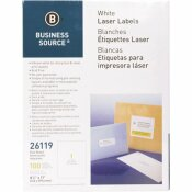 BUSINESS SOURCE 8-1/2 IN. X 11 IN. WHITE FULL SHEET LASER MAILING LABELS (100 PER PACK)