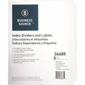 S.P. RICHARDS CO. INDEX DIVIDERS, 5 TABS, 11 IN. X 8-1/2 IN., 25 SETS PER BOX, WHITE