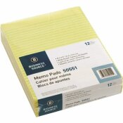 BUSINESS SOURCE 8-1/2 IN. X 11 IN. MEMO PADS WIDE RULED (50-SHEETS PER PAD CANARY)