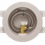 IPS CORPORATION ROUND ICEMAKER VALVE OUTLET BOX WITH QUARTER TURN VALVE AND STAINLESS SUPPLY LINE, COPPER SWEAT LEAD FREE - IPS CORPORATION PART #: 88480