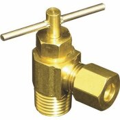 PROPLUS NEEDLE VALVE BRASS ANGLE 1/4 IN. COMPRESSION X 1/8 IN. MIP LEAD-FREE