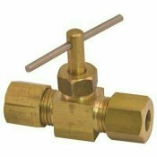 PROPLUS STRAIGHT NEEDLE BRASS VALVE 1/4 IN. COMPRESSION X 1/8 IN. MIP LEAD-FREE