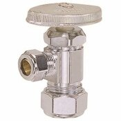 BRASSCRAFT ANGLE STOP VALVE 3/8 IN. NOM (1/2 IN. OD) COMPRESSION X 3/8 IN. OD COMPRESSION CHROME LEAD FREE