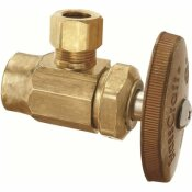 BRASSCRAFT 1/2 IN. NOMINAL SWEAT INLET X 3/8 IN. O.D. COMPRESSION OUTLET BRASS MULTI-TURN ANGLE VALVE IN ROUGH BRASS - BRASSCRAFT PART #: R19X R