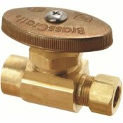 BRASSCRAFT 1/2 IN NOMINAL SWEAT INLET X 3/8 IN. O.D. COMPRESSION OUTLET BRASS MULTI-TURN STRAIGHT VALVE IN ROUGH BRASS