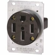 LEVITON 50 AMP FLUSH MOUNT SHALLOW SINGLE OUTLET, BLACK