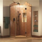 PRISM PLUS 34 IN. W X 34 IN. D X 72 IN. H SEMI-FRAMELESS NEO-ANGLE HINGED SHOWER ENCLOSURE IN OIL RUBBED BRONZE HARDWARE