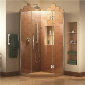 DREAMLINE PRISM PLUS 40 IN. D X 40 IN. W X 72 IN. H SEMI-FRAMELESS NEO-ANGLE HINGED SHOWER ENCLOSURE IN CHROME HARDWARE