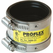 FERNCO 2 IN. PROFLEX EPDM RUBBER CLAMP CLAMP SHIELDED COUPLING - 4.3 PSI SILVER 3000-22