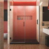 DREAMLINE UNIDOOR PLUS 59 TO 59.5 IN. X 72 IN. FRAMELESS HINGED SHOWER DOOR IN SATIN BLACK