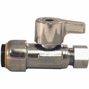 TECTITE 1/2 IN. CHROME-PLATED BRASS PUSH-TO-CONNECT X 3/8 IN. COMPRESSION QUARTER-TURN STRAIGHT STOP VALVE - TECTITE PART #: FSBVS1238C