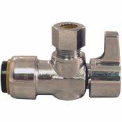 TECTITE 1/2 IN. CHROME-PLATED BRASS PUSH-TO-CONNECT X 3/8 IN. O.D. COMPRESSION QUARTER-TURN ANGLE STOP VALVE