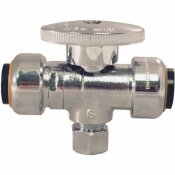 TECTITE 1/2 IN. CHROME-PLATED BRASS PUSH-TO-CONNECT X 1/2 IN. PUSH-TO-CONNECT X 3/8 IN. COMPRESSION STOP TEE VALVE