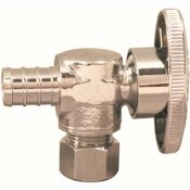 APOLLO 1/2 IN. CHROME-PLATED BRASS PEX BARB X 3/8 IN. COMPRESSION QUARTER-TURN ANGLE STOP VALVE