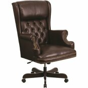 FLASH FURNITURE HIGH BACK TRADITIONAL TUFTED BROWN LEATHER EXECUTIVE SWIVEL OFFICE CHAIR