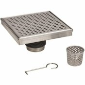 OATEY DESIGNLINE 4 IN. X 4 IN. STAINLESS STEEL SQUARE SHOWER DRAIN WITH SQUARE PATTERN DRAIN COVER