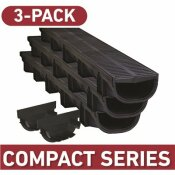 COMPACT SERIES 5.4 IN. W X 3.2 IN. D X 39.4 IN. L TRENCH AND CHANNEL DRAIN KIT WITH BLACK GRATE (3-PACK   9.8 FT) - U.S. TRENCH DRAIN PART #: 83500-3