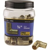 APOLLO 3/4 IN. BRASS PEX BARB 90 ELBOW PRO PACK (25-PACK)