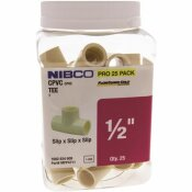 NIBCO 1/2 IN. CPVC CTS SOCKET X SOCKET X SOCKET TEE FITTING PRO PACK (25-PACK)