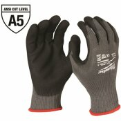 MILWAUKEE LARGE GRAY NITRILE LEVEL 5 CUT RESISTANT DIPPED WORK GLOVES