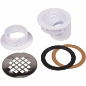 OATEY ROUND OFFSET WHITE PVC SHOWER DRAIN WITH 4-1/4 IN. ROUND SNAP-IN STAINLESS STEEL DRAIN COVER