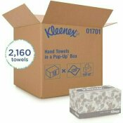 KLEENEX HAND TOWELS PREMIUM ABSORBENCY POCKETS COUNTERTOP POP-UP BOX, WHITE (120-SHEETS/CARTON, 18 CARTONS/CASE)