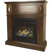 PLEASANT HEARTH 20,000 BTU 36 IN. COMPACT CONVERTIBLE VENTLESS NATURAL GAS FIREPLACE IN CHERRY