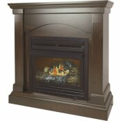 PLEASANT HEARTH 20,000 BTU 36 IN. COMPACT CONVERTIBLE VENTLESS PROPANE GAS FIREPLACE IN TOBACCO