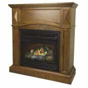 PLEASANT HEARTH 20,000 BTU 36 IN. COMPACT CONVERTIBLE VENTLESS PROPANE GAS FIREPLACE IN HERITAGE OAK