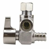 APOLLO 1/2 IN. CHROME-PLATED BRASS PEX BARB X 3/8 IN. COMPRESSION DUAL OUTLET QUARTER-TURN ANGLE STOP VALVE